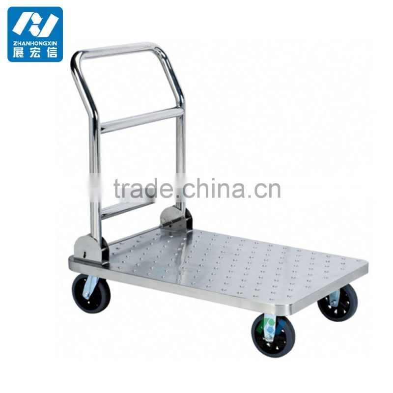 Stainless Steel Hotel Luggage Cargo Trolley 4 Wheels