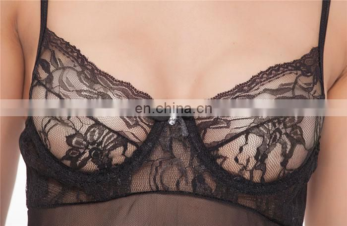 Wholesale Fashion Xxxl Size Silk Black Flirt Woman Sexy Lingerie Tokyo