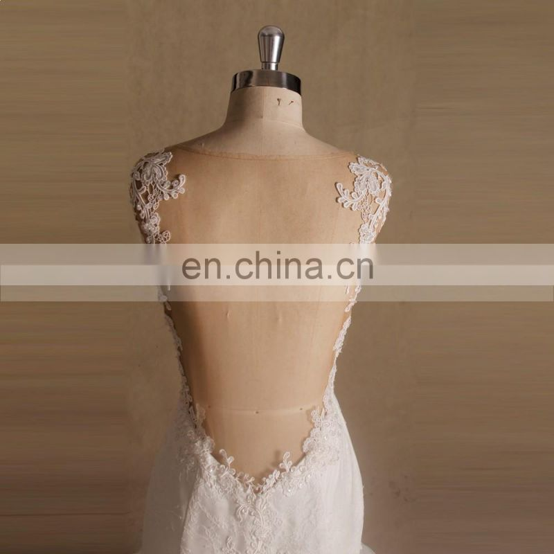 Nectarean Spaghetti Straps Sweet Heart Neckline Mermaid Lace Beaded Wedding Gown