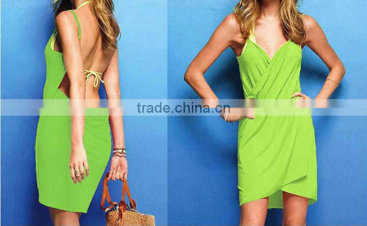 European Style Sexy Open Back Dress One Piece Wrap Beach Wear Swim wear Bikini Cover Up Summer Dress