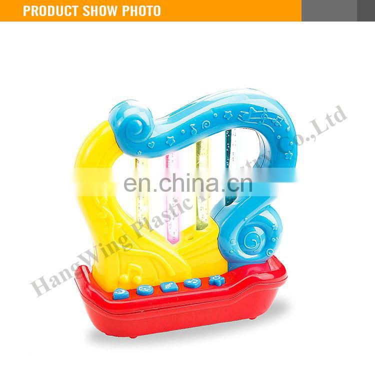 Lovely child plastic music toy mini harp with light and music