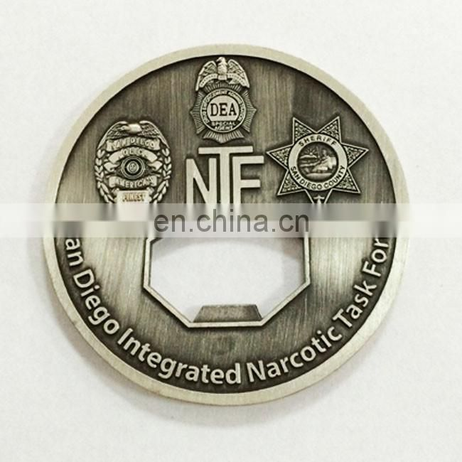 Custom round shape gold plated challenge coin Die cast brass coin