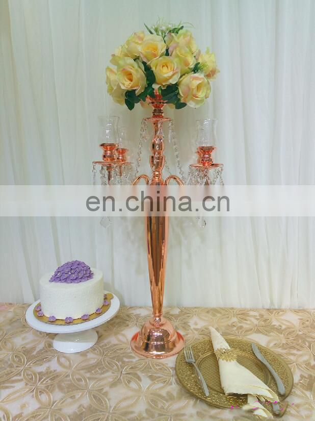 Flash Wedding Rose Gold Metal Glass 4 Arms Candel Cups Candelabras