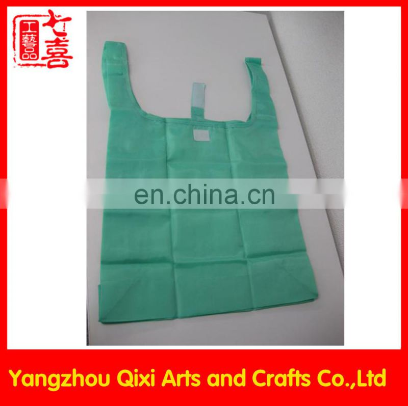 Promotional cheap foldable shopping tote bag supermarket cheapest nylon fabric folding shopping bag