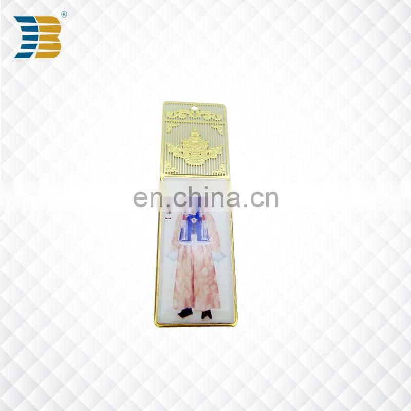 Chinese folk costume custom metal bookmark print with epoxy