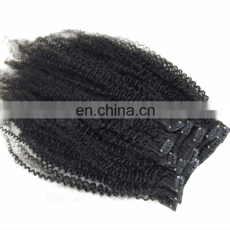 8A Grade Afro Kinky Curly Human Hair Clip In Extensions For Black Women Indian Kinky Curly Hair Clip In Hair Extensions
