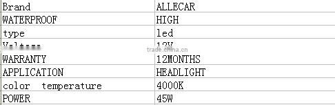 2016 NEWEST 9005 led headlight auto lamp led 45W car led light bulbs/ 3600LM 4000K LED CAR LAMP FOR RETROFIT