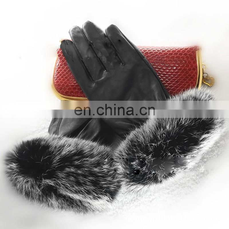 Stock wholesale sheep fur gloves with rabbit fur for winter warm