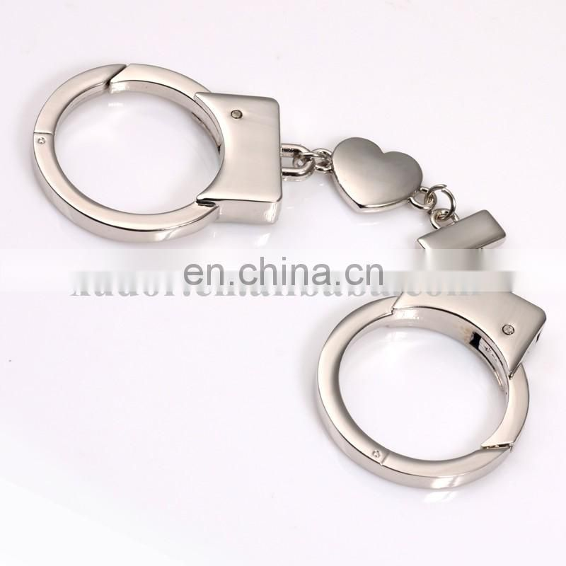 Mini Handcuff Shaped Promotional Zinc Alloy Silver Metal Handcuffs Key Chain