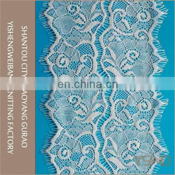 Unique design both side rose eyelash net embroidery lace trim