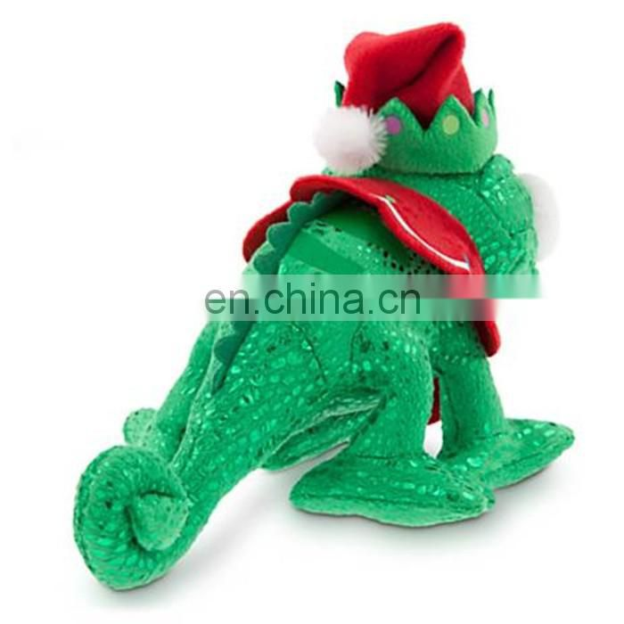 custom green glittering lizard wearing elf hat plush toy