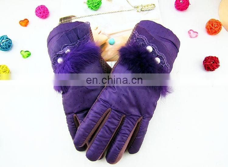 Fashion Cheap colorful bowknot pendant female cute Winter warm cashmere leather driving gloves with lace