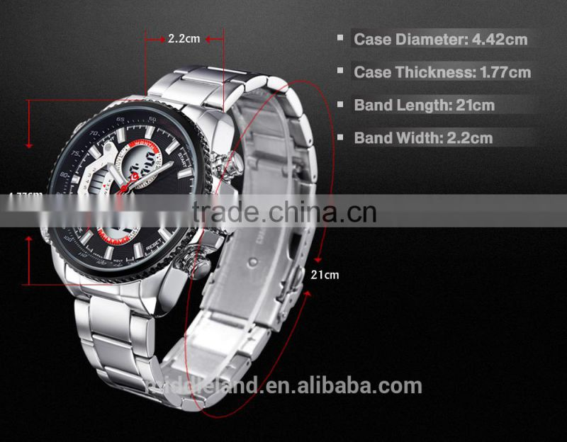 MIDDLELAND !Stainless Steel Watch Band Alloy Watch Case Smart Waterproof Men's LED Light Up Watches