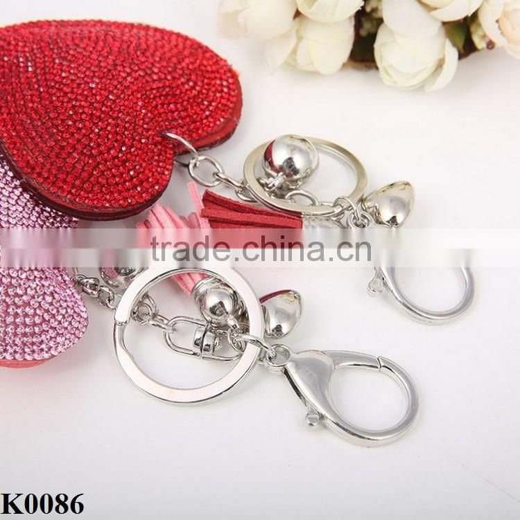 Women Jewelry Love heart pendant keychain leather key chain rhinestone colorful keyring gifts wholesale K0086