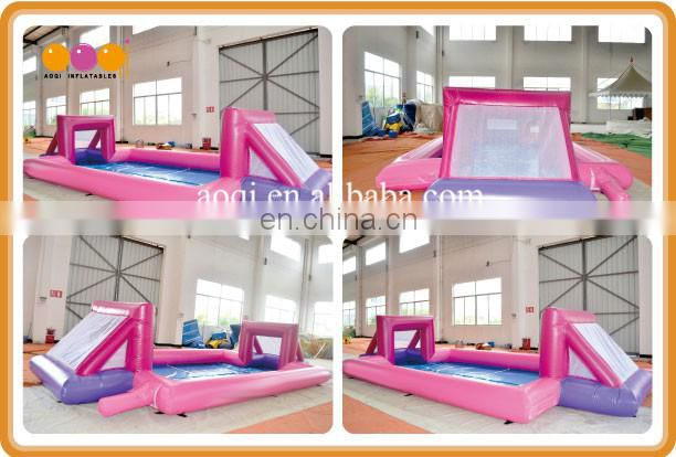 AOQI design best sale pink folding inflatable soap football pitch playground for sale