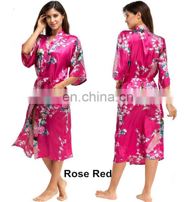 Women's Peacock Print Half Sleeve Silk Kimono Bridesmaid long Robe Nightgown