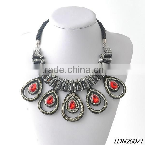 Prom fancy red rhinestone & rope charm necklace
