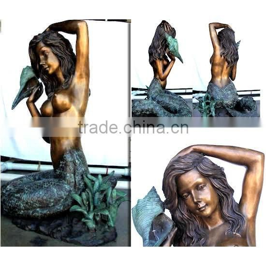 Antique fashion brass sitting mermaid fountain as gift NTBF-MF019Y