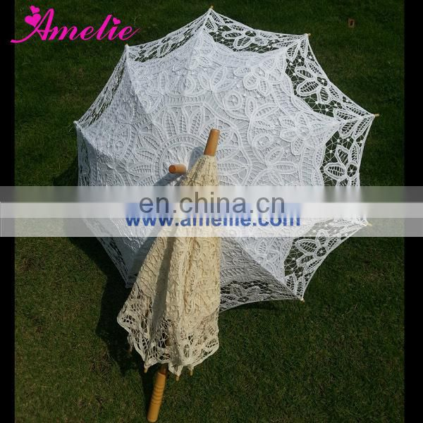 New Arrival Stock White and Beige Colors Victorian Lace Parasol