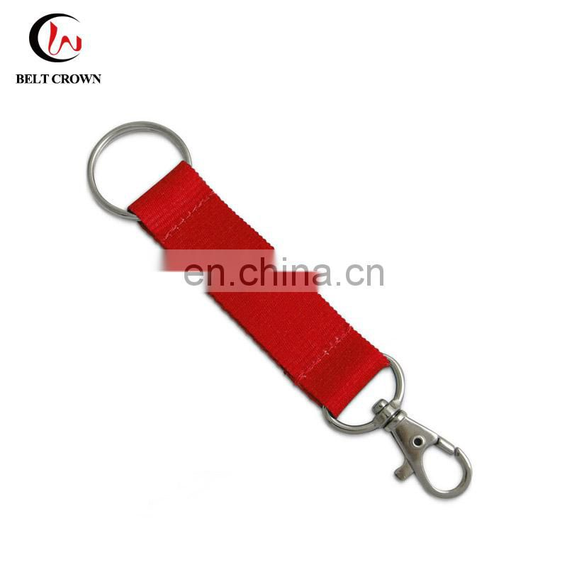 Cheap custom polyester screen printed keychain short lanyard for key