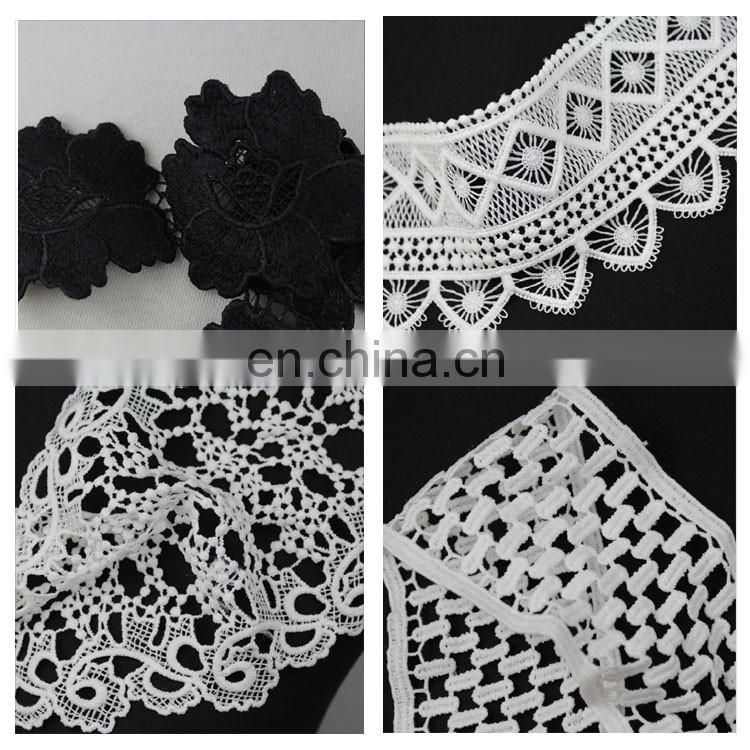 Beautiful design white polyester chemical lace trim for dress