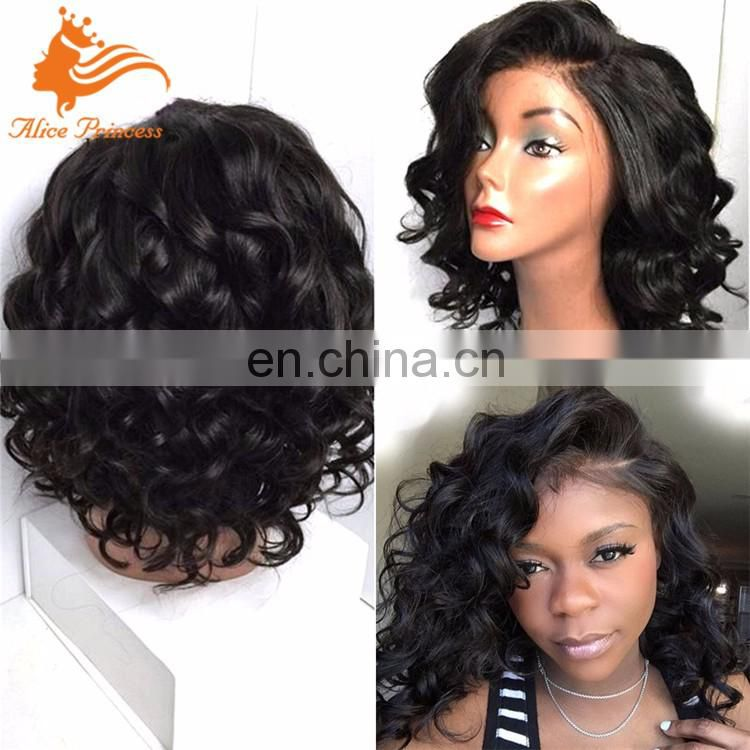 Large Stock human hair short bob full lace wig body wave no shedding cheap full lace wig
