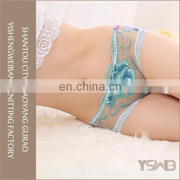 Popular lady sexy red transparent lace panty