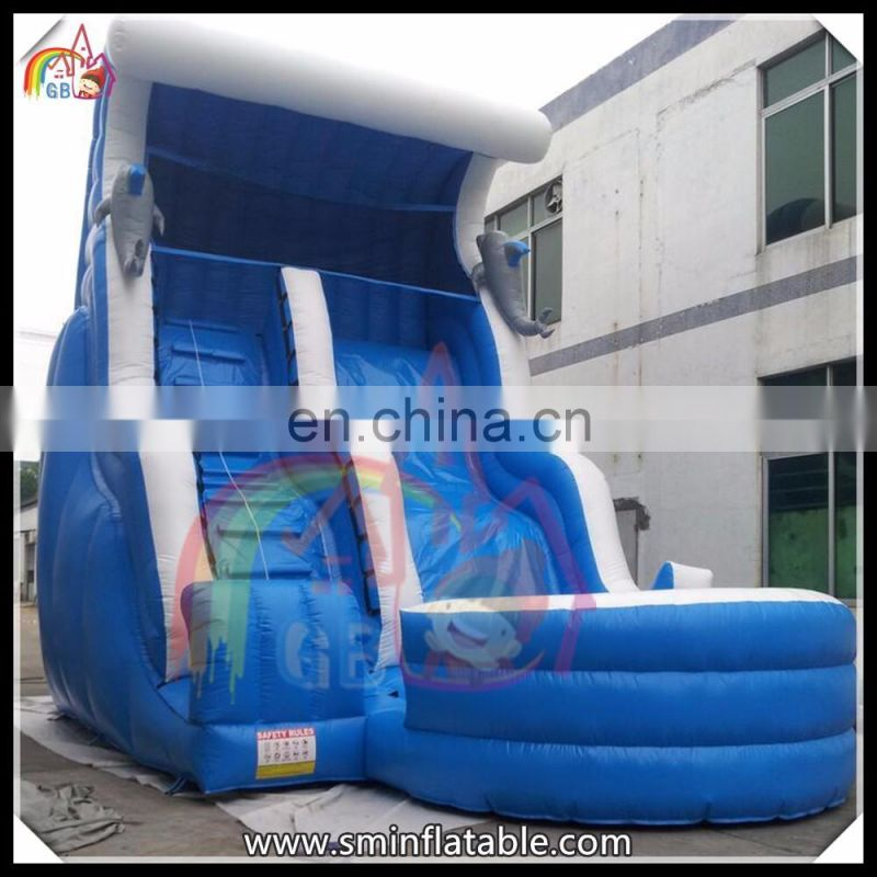 Giant inflatable dolphins water slide, inflatable wave shape water slide  with pool for sale
