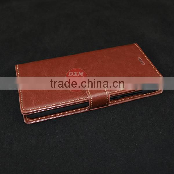 Luxury Crazy horse wallet leather case for xiaomi redmi note case with card slots