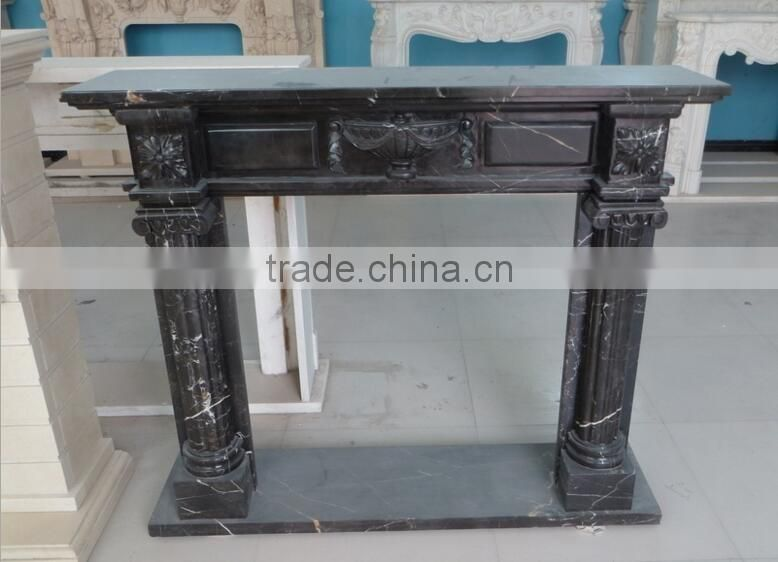cheap indoor decorative marble black fireplace mantels NTMF-F847S