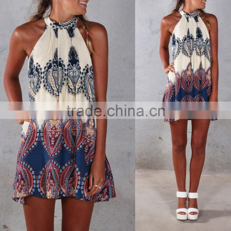Wholesale Boho Design/Summer loose Printed Halter Style Sleeveless Hippie Women Chiffon Dress Mini Dress Plus Size