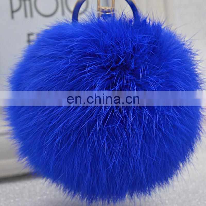 China fur factory supply rabbit fur pompon keychain for car keychain