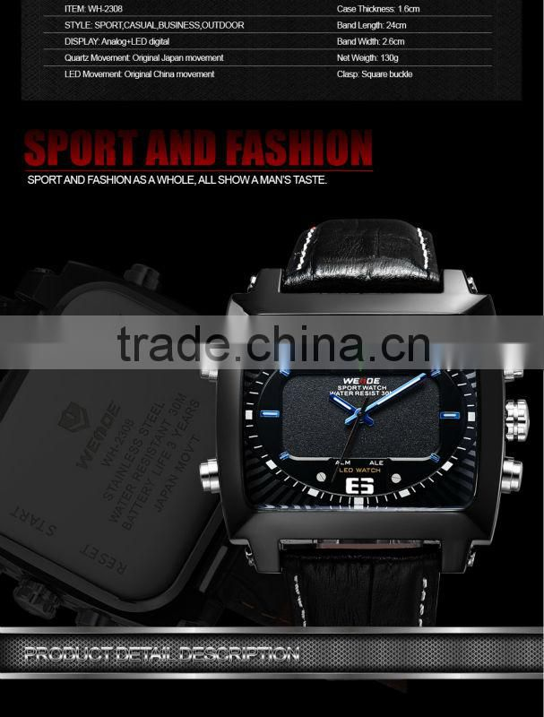 HOT!2014 WEIDE brand LED display back light dual time Alarm analog hot product sports waterproof wrist trend watch men WH2308