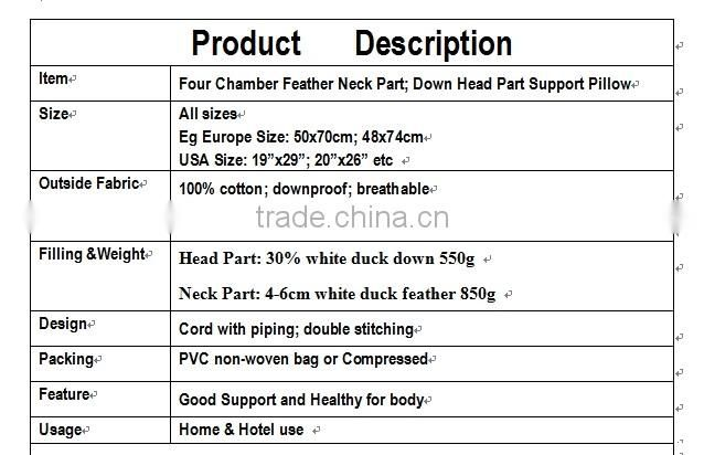 New Functional for Neck and Head Part Duck Feather Down Support Pillow