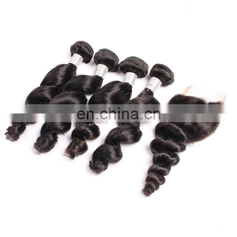 www.china.cn wholesale remy virgin brazilian hair weave and closure nature black color body wave human hair