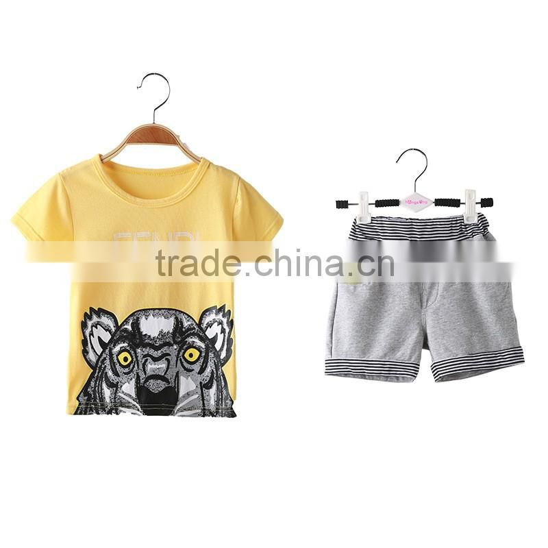 2016 new fashion child boy clothes for 2 pieces summer baby clothing set wholesale casual kid clothes (ulik-VF001)