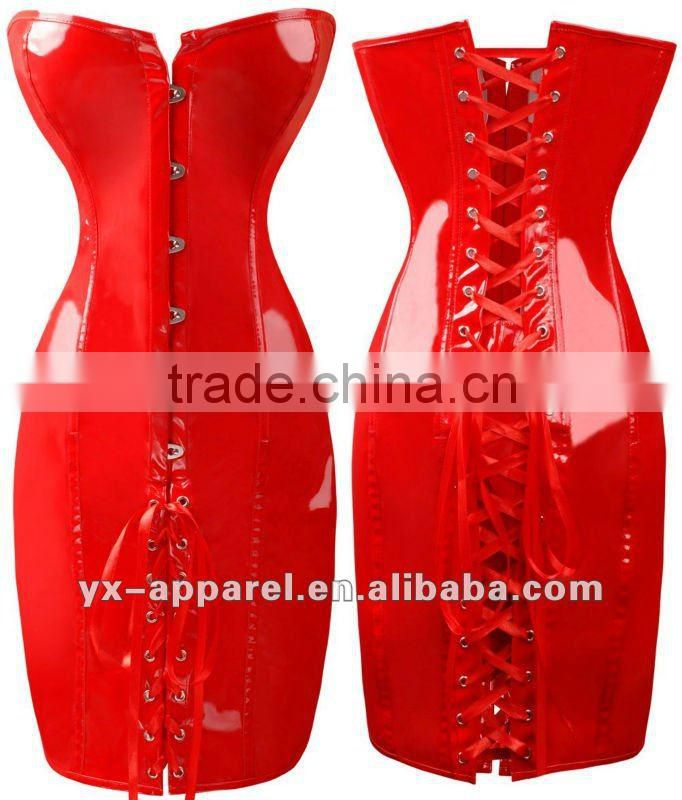 lady special design sexy tight leather catsuit with rivet bra design