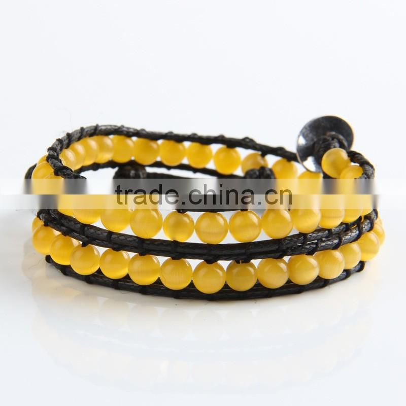 6mm natural yellow opal beaded wristband rope bracelet, adjustable leather bracelet, multi layer bracelet