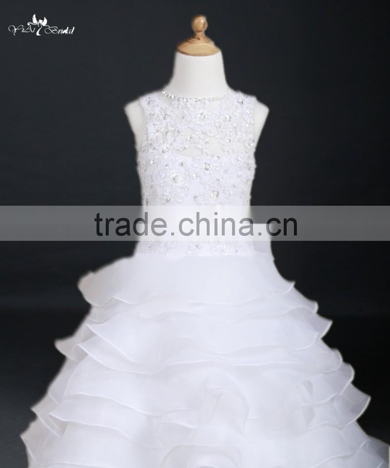 Fg25 Latest Full Length Ball Gown White Lace Flower Dress Patterns For 5 7