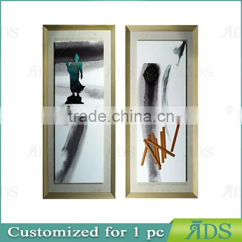 Framed handmade modern art buddha abstract painting for home decoration