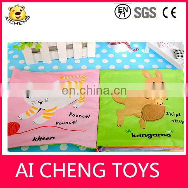 2015 Wholesale handmade educational toys baby fabric book lamaze cloth book