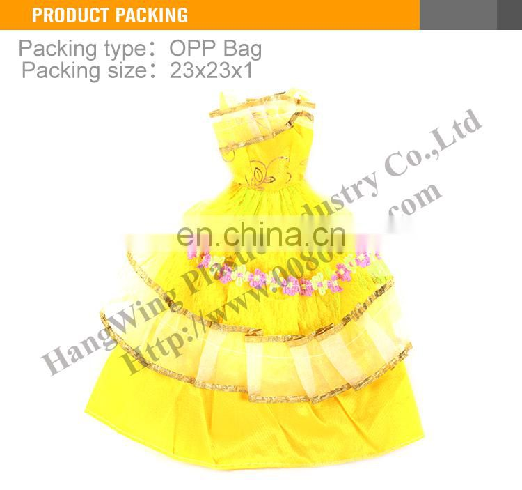 2016 New Design Hight Quality Chiffon Puffy Lovely Girl Doll Dress