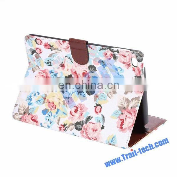 Flowers Pattern Cloth Skin Case for iPad, Wallet Style Case for iPad Mini 4,for iPad Mini 4 case