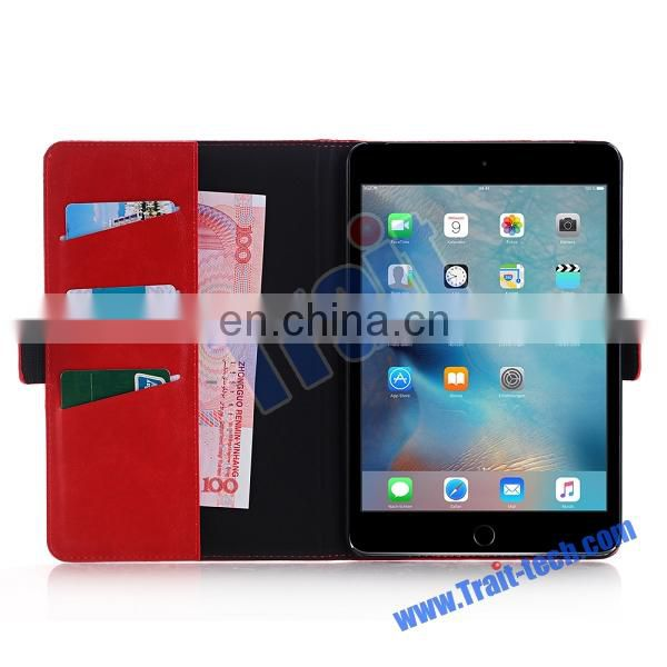 Crazy Horse Pattern Wallet Style Magnetic Flip Stand PC+ PU Leather Case for iPad Mini 4