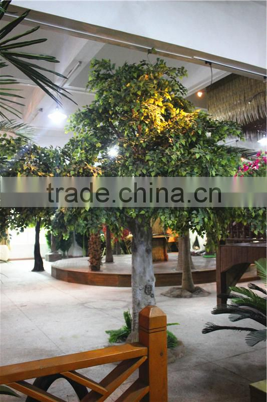 Home garden decoration 100cm to 1000cm Height artificial indoor live plastic ficus red with green big maple tree EZLS05 1011