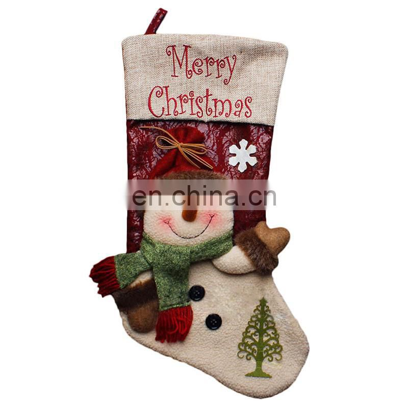 43CM Large 3D Merry Christmas Embroidery Home Decoration Christmas Stockings - Snowman