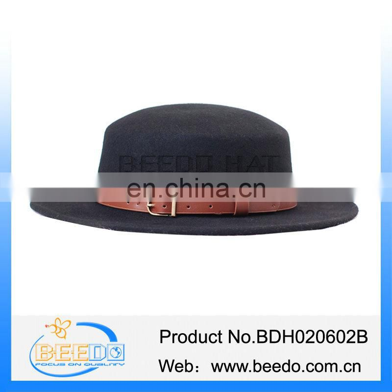 2016 new product 100% wool felt wide brim tall crown fedora hat for boys