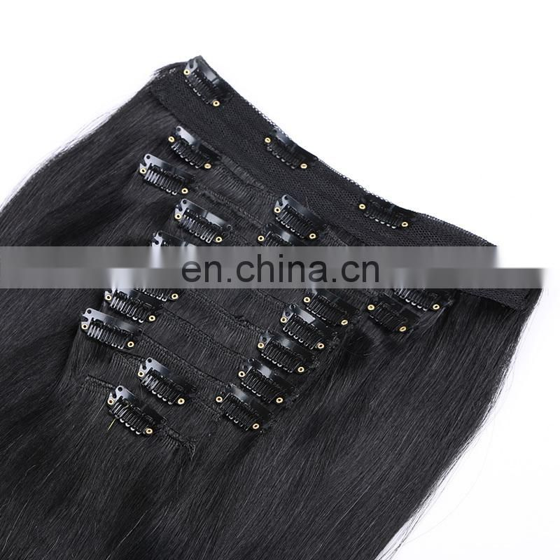 100% Virgin Human Straight Clip In Hair Extensions For African American Hair