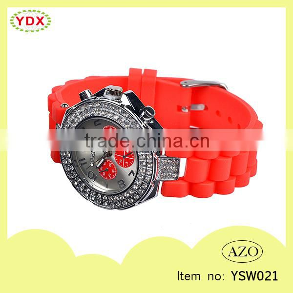 New Design Rhinestone Silicone Ladies Watch Women Watch
