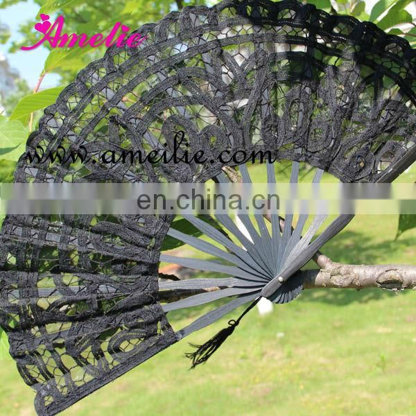 A-Fan(27cm) Stock Market Wholesale Cotton Ivory White Color Vintage Wedding Hand Fan